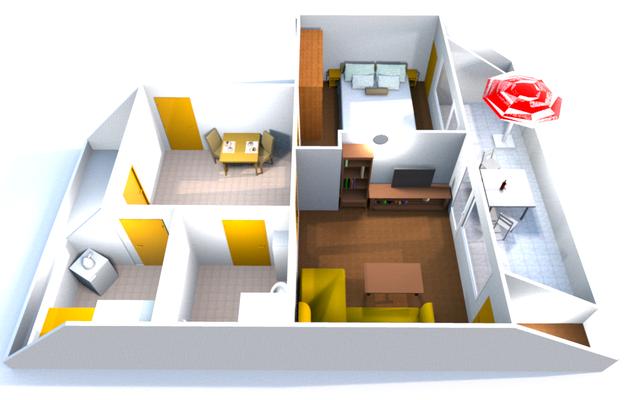 Ferienwohnung 3D Modell