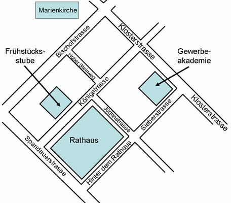 Abbildung 2: Lage der Gewerbeakademie in der Klosterstraße im Berliner Zentrum (Quelle Dr. Hochhaus)