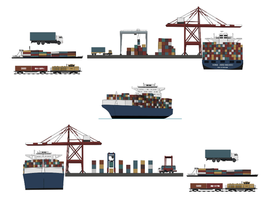 """Info-Grafik """"maritime Transportkette"""", für Fraunhofer CML Hamburg, 2014"""