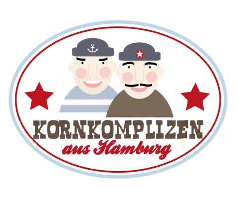 """Logo für die Popcornfirma """"Kornkomplizen"""" die mit ihren Produkten eine junge, urbane Zielgruppe anspricht."""