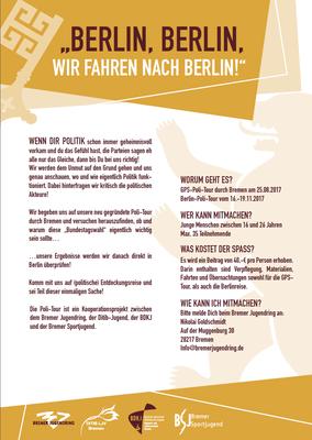 """Layout """"Polit-Tour"""", Sportjugend Bremen, 2017"""
