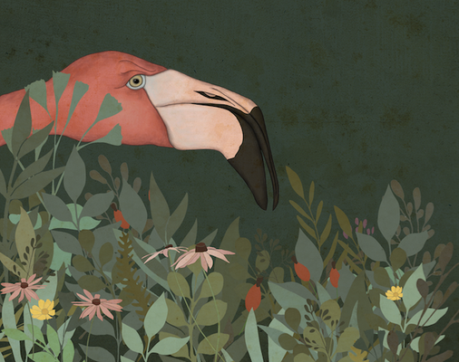 """Freie Arbeit, """"grimmiger Flamingo"""""""