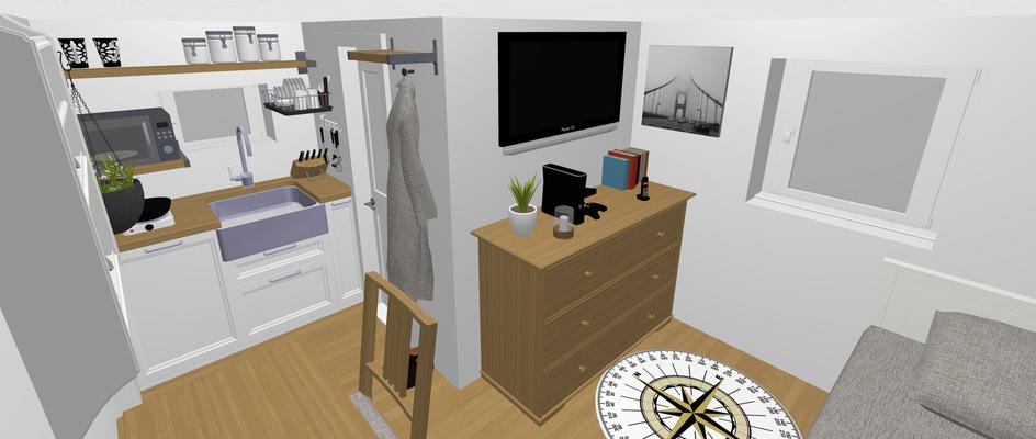 Mini Tiny House Innenausstattung Ansicht vom Schreibtisch