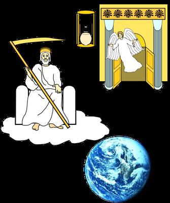 Au chapitre 14, un ange sort du Temple et crie à l'ange portant une couronne d'or assis sur la nuée de lancer sa faucille afin de moissonner la terre. Un autre ange sort du Temple, tenant une faucille tranchante et reçoit l'ordre de vendanger la terre.
