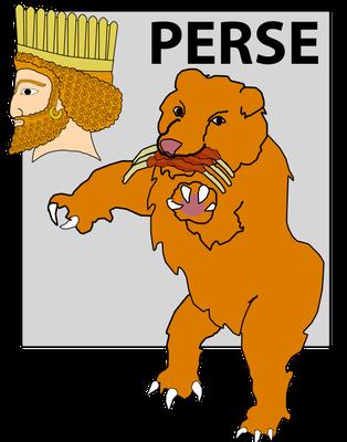 La seconde bête qui sort de la mer agitée ressemble à un ours affamé qui a 3 côtes dans sa bouche. C'est l'Empire médo-perse (la poitrine et les bras en argent de la statue géante de Nébucadnetsar) qui succède à Babylone.