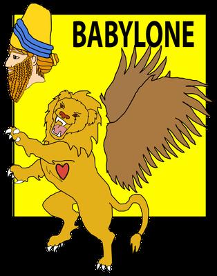 Le lion ailé est caractéristique de l'art babylonien. Il correspond aussi à la première bête qui sort de la mer dans la vision du prophète Daniel. Cette bête ressemble à un lion ailé dont les ailes sont arrachées.