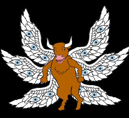 D'après les effets dévastateurs produits sur la terre lorsque les 7 anges versent les coupes de la colère de Dieu, on peut penser que le chérubin qui distribue les 7 coupes d'or est celui qui a une tête de taureau et qui symbolise la Puissance de Dieu.
