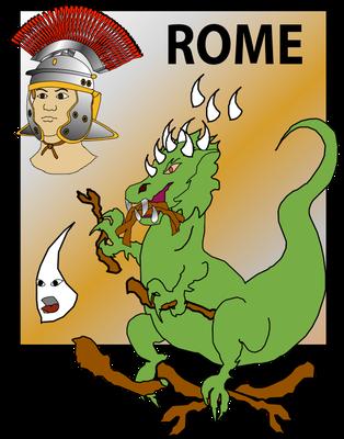 Le fer, métal dur, caractérise parfaitement la puissance de Rome dont l'armée est réputée implacable et invincible. Rome étend sa domination sur tout le pourtour méditerranéen. L'Empire romain correspond aux jambes en fer de la statue de Nébucadnestar.