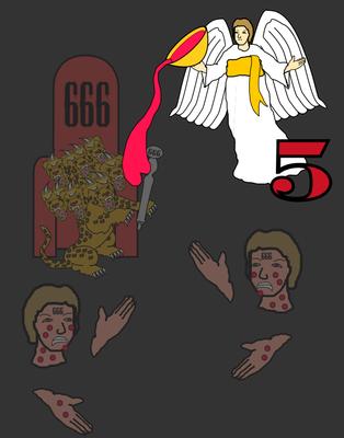 Les 7 sonneries de trompette correspondent aux 7 coupes de la colère de Dieu. Quand le 5ème ange a versé sa coupe de la colère de Dieu sur le trône de la bête, son royaume a été plongé dans les ténèbres spirituelles.