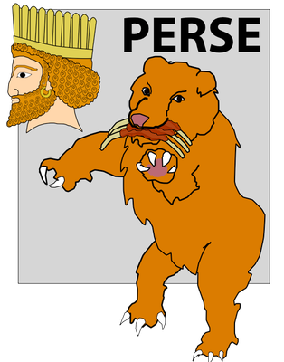 Dans la vision du prophète Daniel décrivant la succession des puissances mondiales, 4 bêtes énormes montent de la mer, l'ours représente l'empire médo-perse qui va vaincre Babylone, le lion ailé.