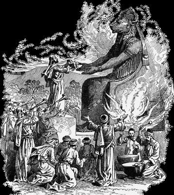 Manassé égara les Judéens et les habitants de Jérusalem, au point qu'ils agirent encore plus mal que les nations que Yahvé avait exterminées devant les Israélites. Manassé a été jusqu'à passer ses enfants par le feu pour les offrir au dieu Moloch et Baal.