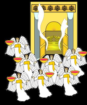 Le Temple céleste s'est rempli de fumée symbolisant la présence et la gloire de Jéhovah Dieu. Mais l'instauration du culte pur sur la terre ne sera effective que lorsque les 7 coupes de la colère de Dieu auront été versées par les 7 anges sur la terre.