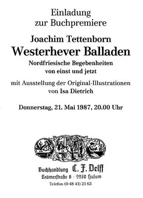 Einladung zur Buchpremiere in der Husumer Buchhandlung Delff am 21.5.1987