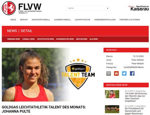 Talent des Monats beim FLVW