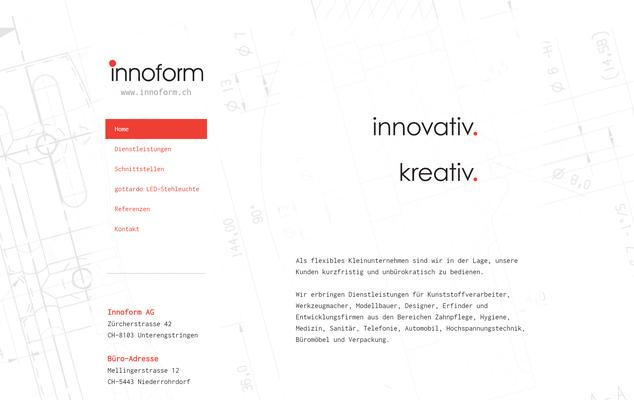 Website für eine Konstruktions-Firma (www.innoform.ch)