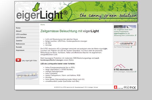 Layout-Unterstützung für [www.eigerlight.ch] (im Auftrag meines Arbeitgebers)
