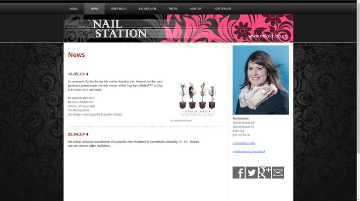 Website für eine Nail-Artistin (www.nailstation.ch)