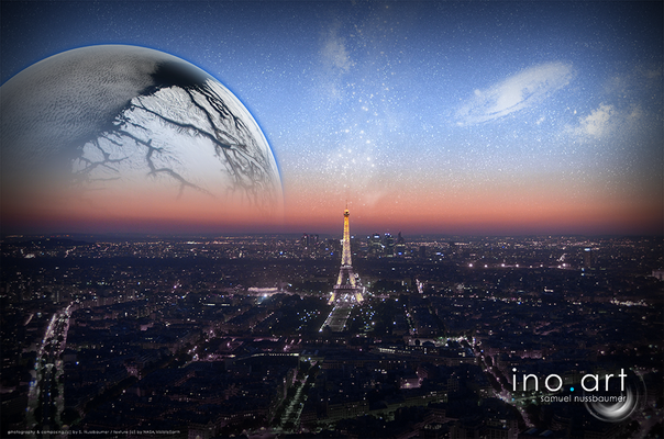 Fotografiert in Paris (F) ; photography & composing (c) by S. Nussbaumer / textures (c) by NASA VisibleEarth