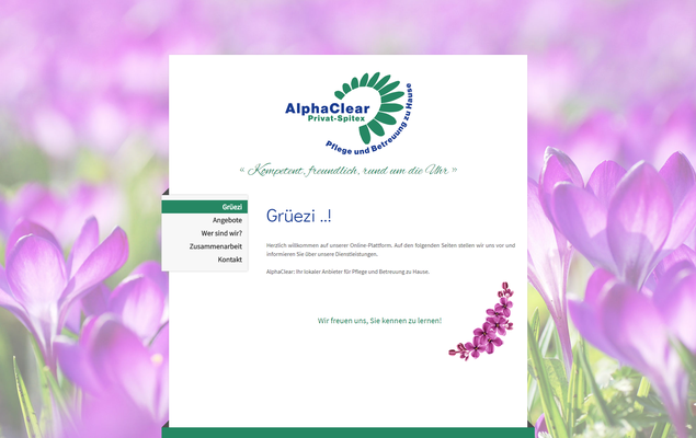 Website für ein privates Pflege-Unternehmen (www.alphaclear.ch)