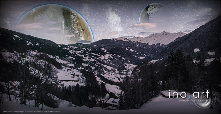 Fotografiert in Schruns (AT) ; photography & composing (c) by S. Nussbaumer / textures (c) by NASA VisibleEarth