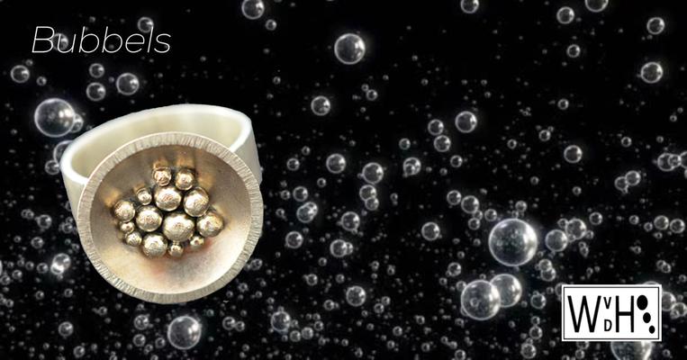 Edelsmid Wilma van den Hoek Ring Bubbels zilver