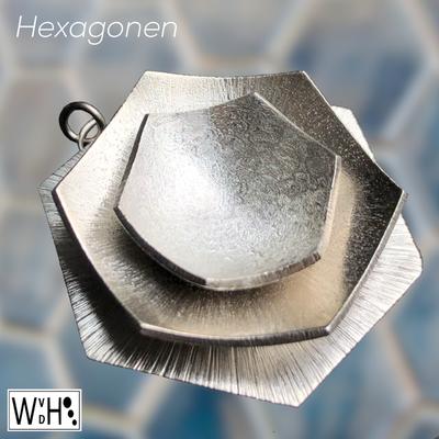 Edelsmid Wilma van den Hoek Maassluis zilver hexagonen hanger