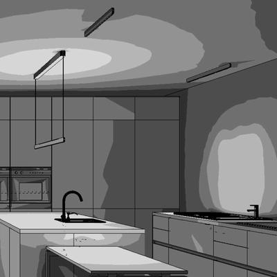 Lichtplanung und Berechnung Küche Wohnhaus