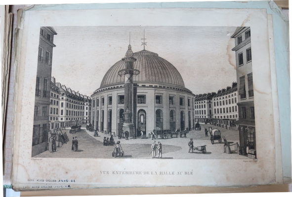 """Paris, Vue extérieure de la Halle aux blés (actuelle """"bourse de commerce"""", futur site d'une Fondation Pinault)"""
