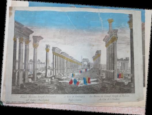 Palmire, Ruines du Grand Temple du coté de l'occident, vue d'optique gravée à l'eau-forte et coloriée, éditée par Lachaussée et Daumont / Abbeville, Musée Boucher-de-Perthes