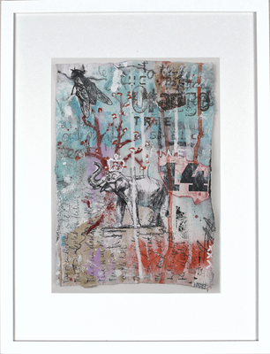 """""""The Elephant on the Hill"""", ca. 19 x 27 cm auf Leinwand"""