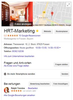 Ihr Unternehmen in Google