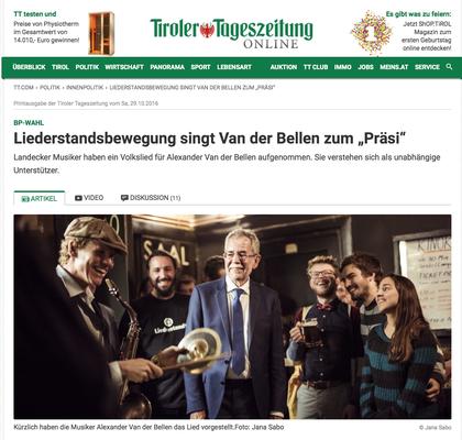Alexander Van der Bellen, Tiroler Tageszeitung