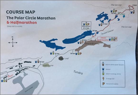 Streckenplan Polar Circle Marathon. Bildquelle: Sue