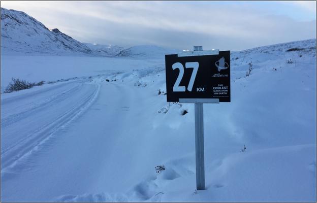Kilometer 27 beim Polar Circle Marathon. Bildquelle: Sue