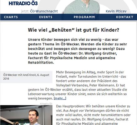 Univ.-Lektor Dr. Wolfgang Gruther bei Ö3: Kinder bewegen sich zu wenig!