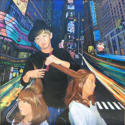 杉本多鶴子さん油絵「世界へ翔け!」