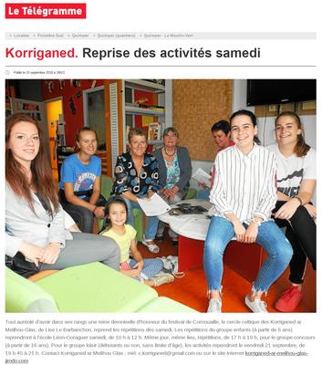 Le Télégramme  -  Lundi 10 Septembr 2018