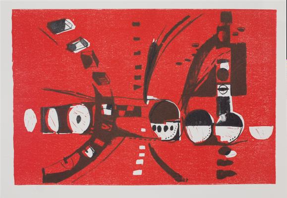 o.T. 2020, 57 x 78cm, Linolschnitt/ Lithographie, Micha Hartmann, Esslingen am Neckar