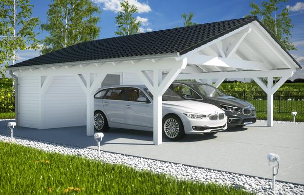 Spitzdach Carport mit Geräteraum