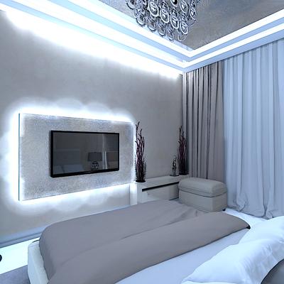 зона тв в спальне с подсветкой