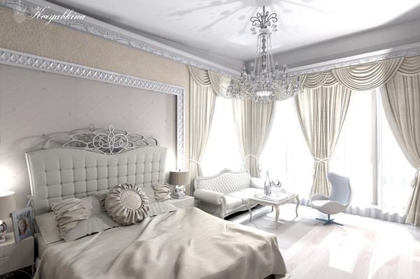 дизайн проект интерьера спальни и кровать с красивым изголовьем