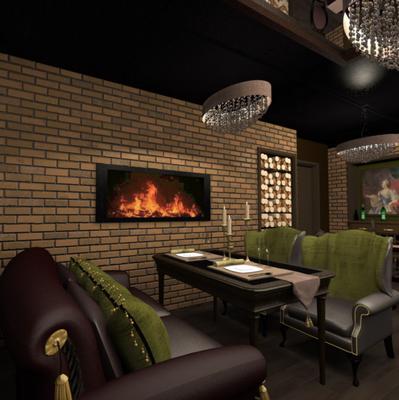 камин в дизайне интерьера ресторана