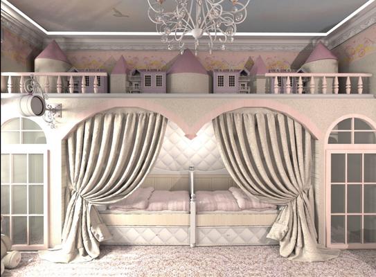 розовая спальня для девочек интерьер