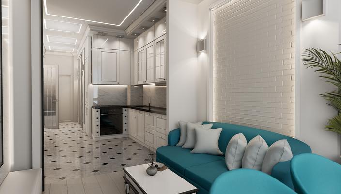 Дизайн кухни-гостиной. Дизайнер Анастасия Корябкина
