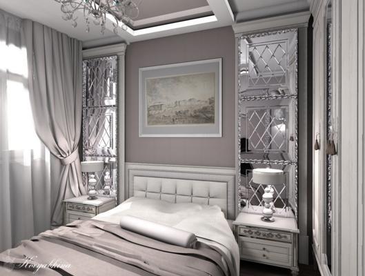 дизайн интерьера спальни с зеркалами классика