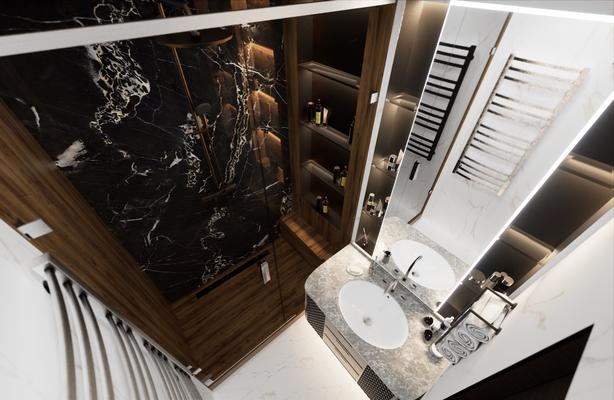 Дизайн интерьера ванной комнаты с мрамором