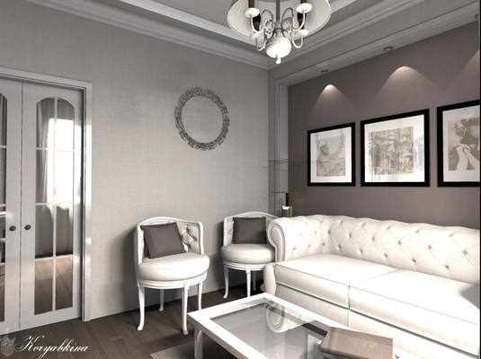 белый диван честер в проекте кабинета