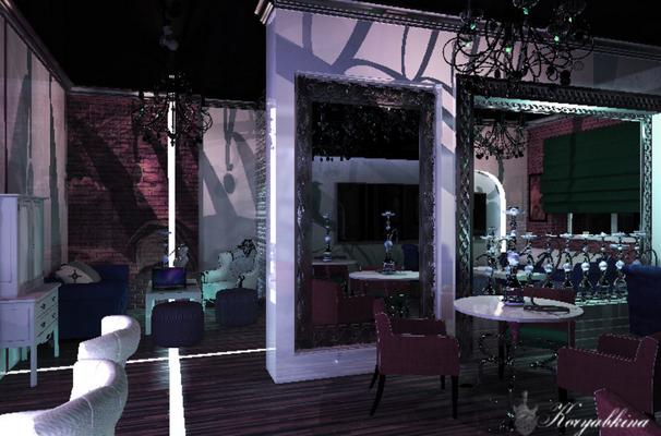 кальян бар в стиле лофт с кирпичами и нишами