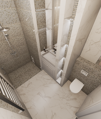 Мозаика в ванной. Дизайнер интерьера Анастасия Корябкина