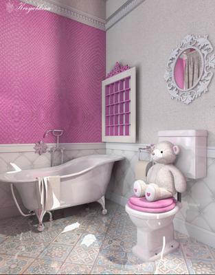 дизайн ванной комнаты для девочек в интерьере дома